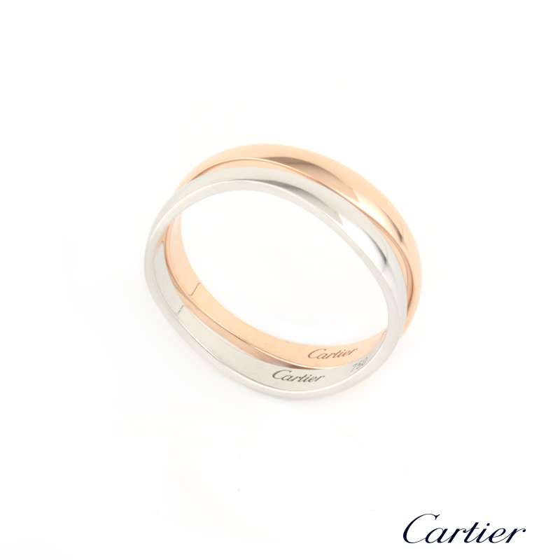 Cartier 18k White Gold and Rose Gold Matching Bands